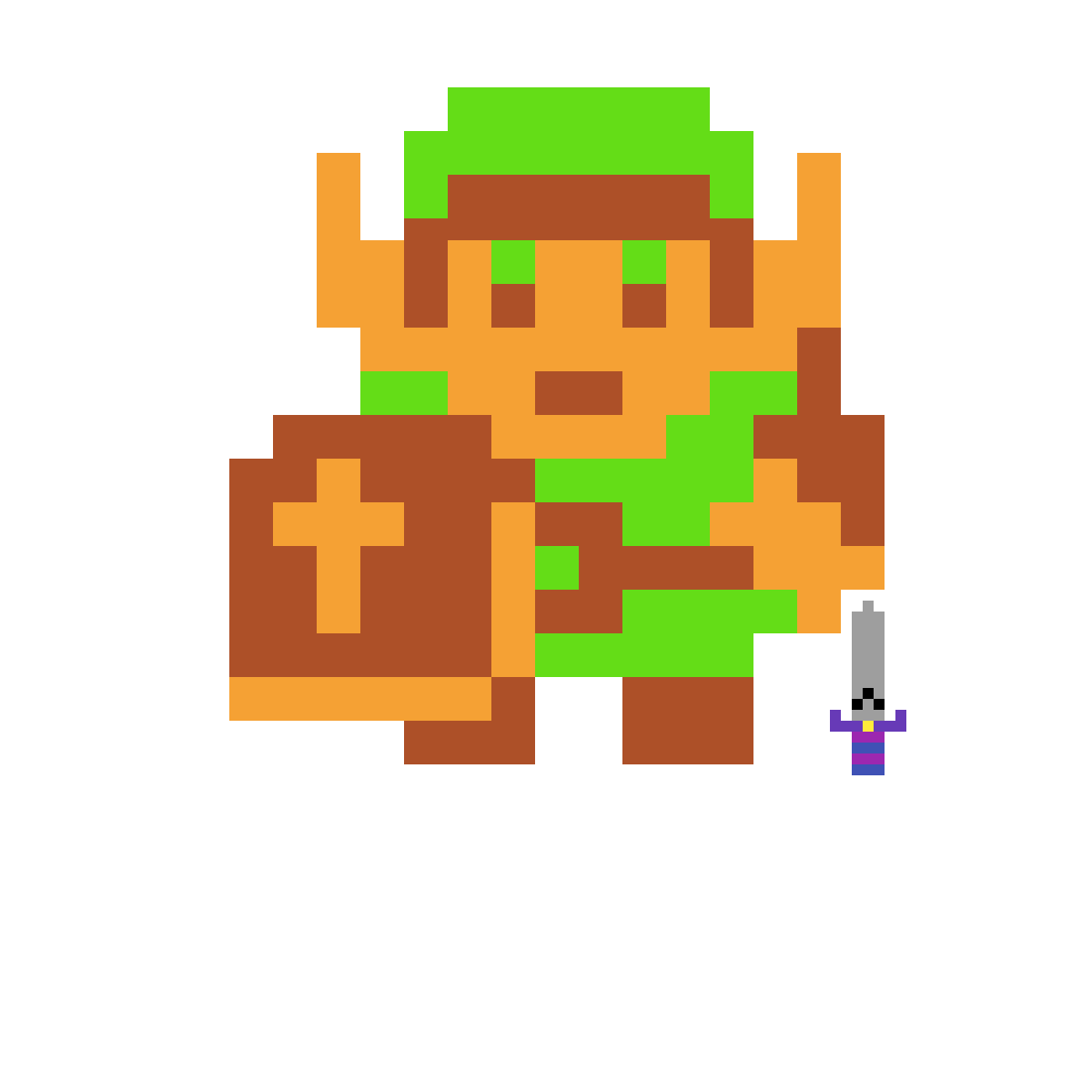 Pixilart - Legend Of Zelda NES 8-Bit Link by Wenamon-117