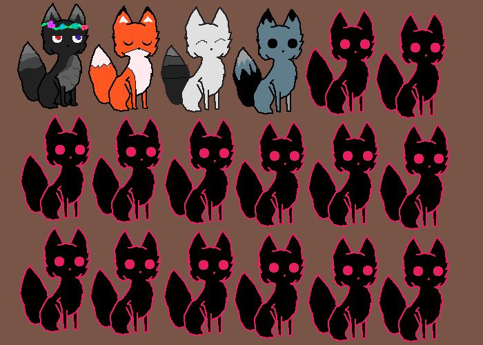 black and gray/blue fox