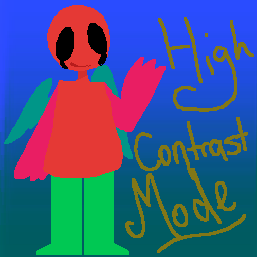 high contrast mode (inverted colors)
