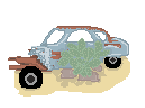 rusted car with a cactus