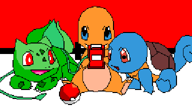 Bulbasaur, Squirtle and Charmander.