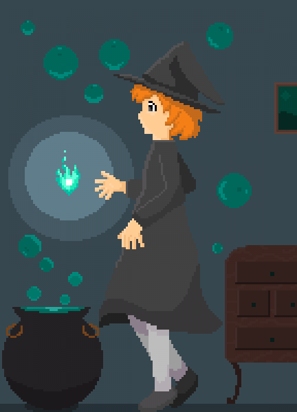 Witch making a heart