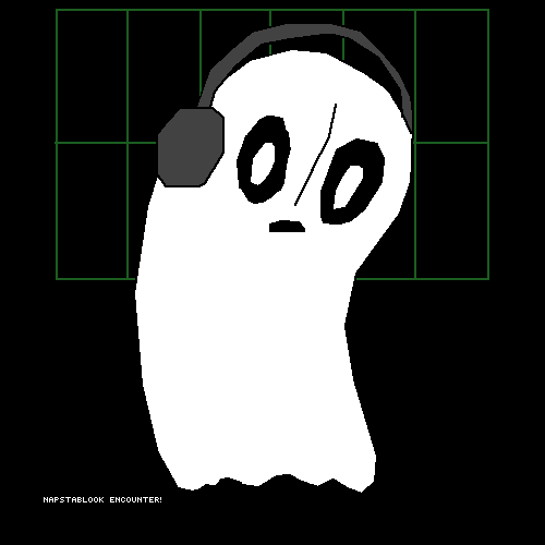 Napstablook with headphones!