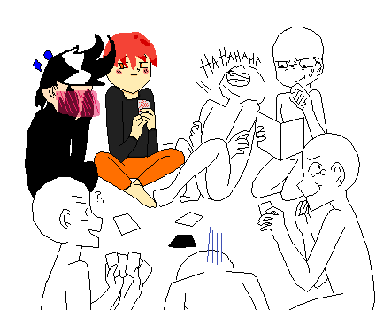 My friends and I being Phycopathic while playing cards