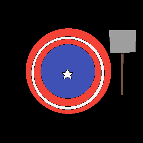 bad drawing of captain america's shield and thor's hamm