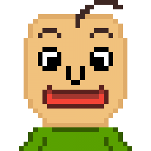 Baldi, from happy, to angry.