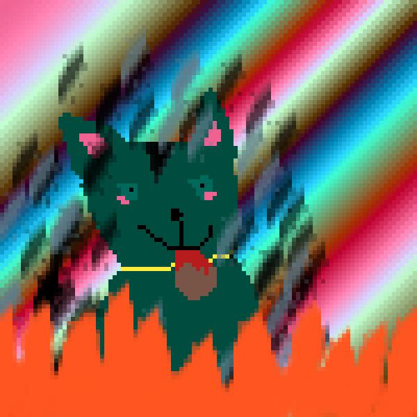 beautiful burning cat eating a meatball