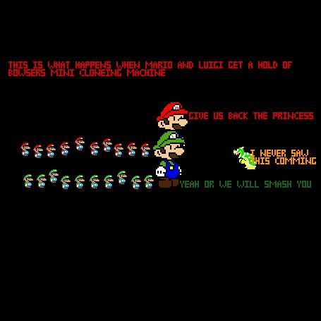 Mario and Luigi and the cloning machine