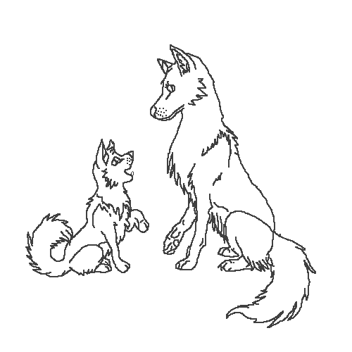 Adult Wolf and a Wolf Pup (base)