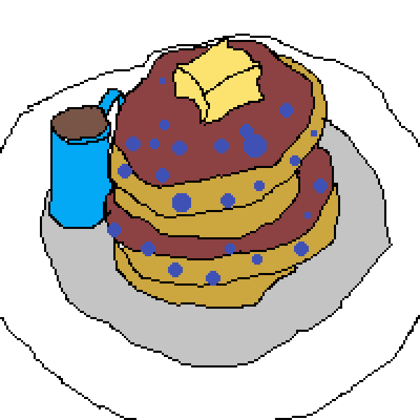 (Traced (except for the blueberries)) Blueberry pancake