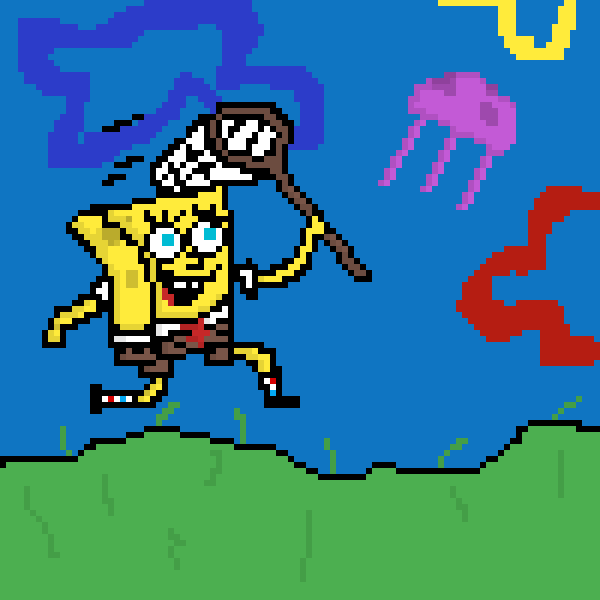 spongebob catching a jelly fish