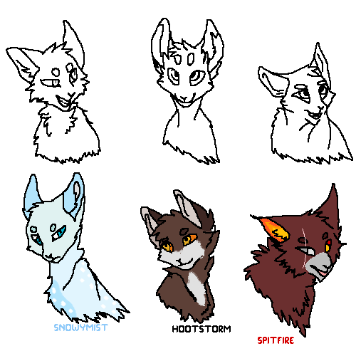 meh two warrior cats oc's Snowy mist and Spit fire