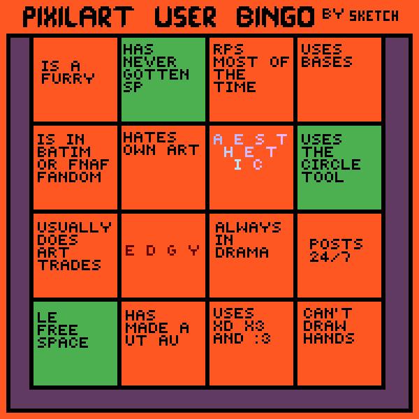 My Completion of @Sketchfloof's Pixilart Bingo