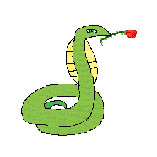 Green snake holding a rose