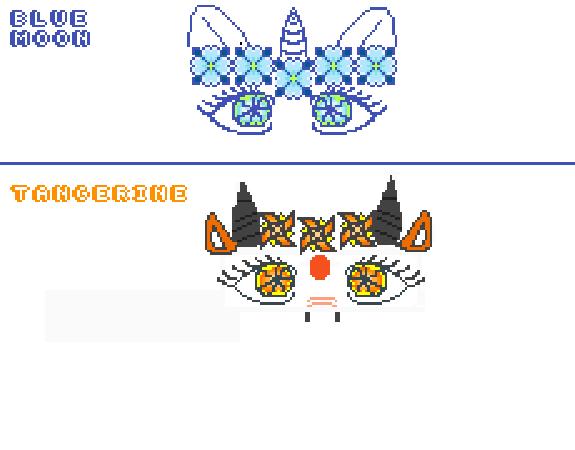 Blue Moon(unicorn, top) Tangerine(dragon, bottom)