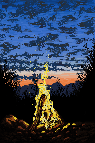 Bonfire and sunset