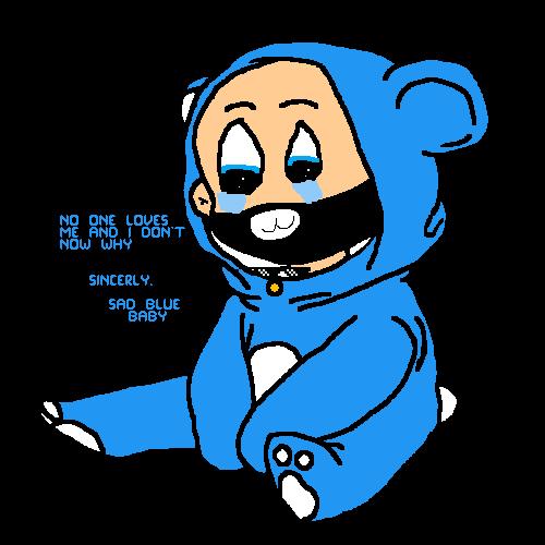 Sad blue baby