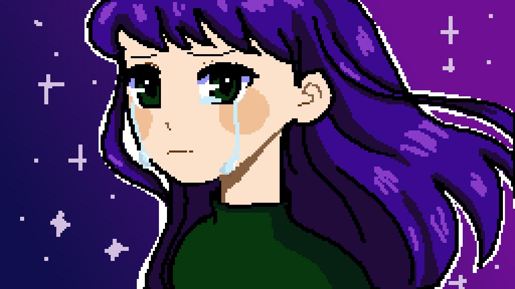 sad night sky girl