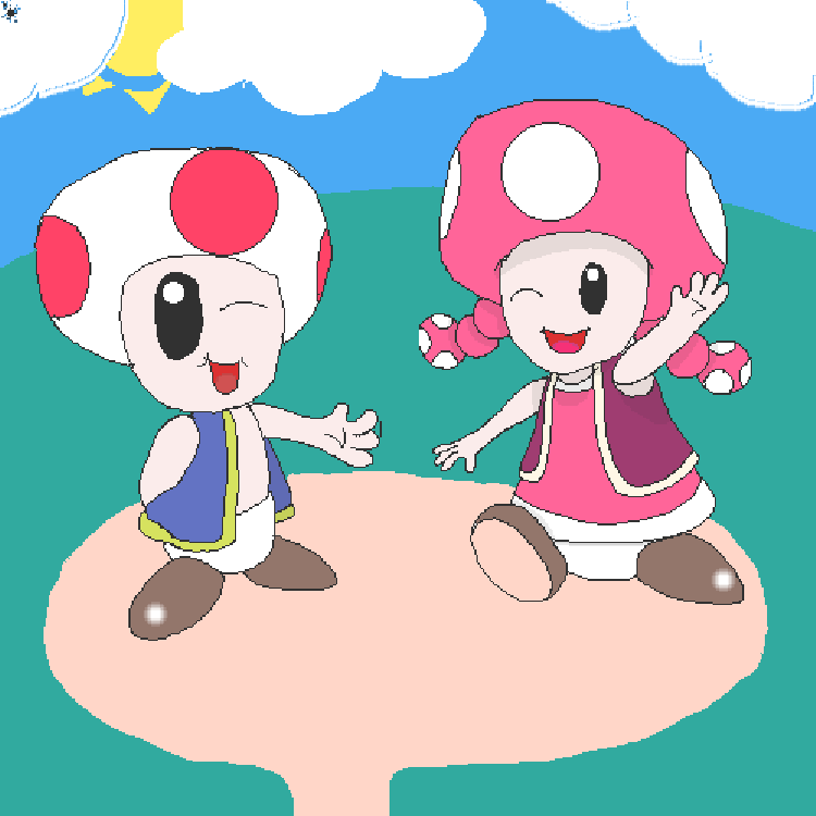Toad And Toadette Drawing