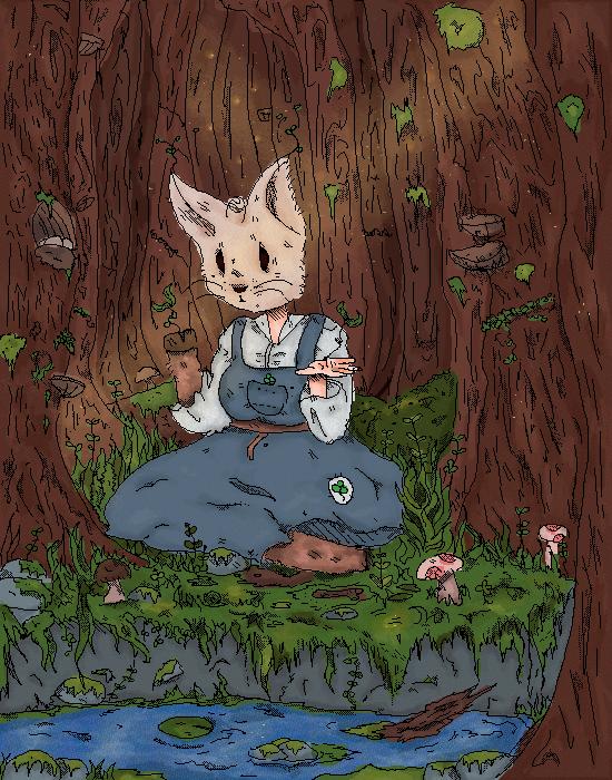 rabbit girl woods