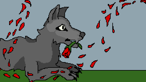 Dog with flowers!