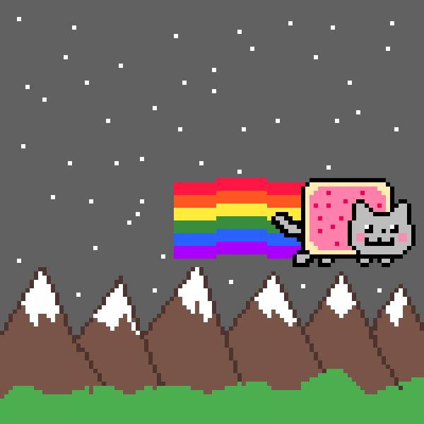 Nyan cat flying in the sky