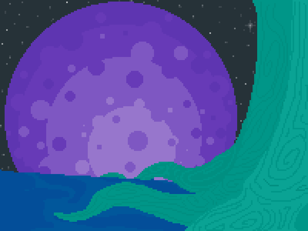 Starry night on a melancholy planet