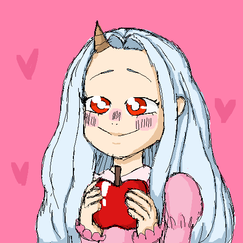 hey its eri holding an apple