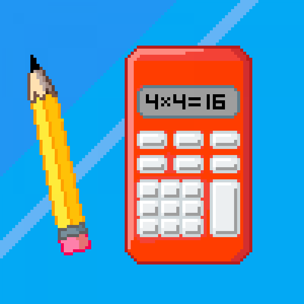 Pencil and Calculator 4x4=16 gif