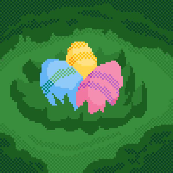 color eggs in feild