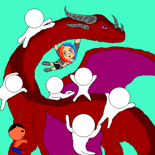 riding a awesome dragon collab (with my oc)